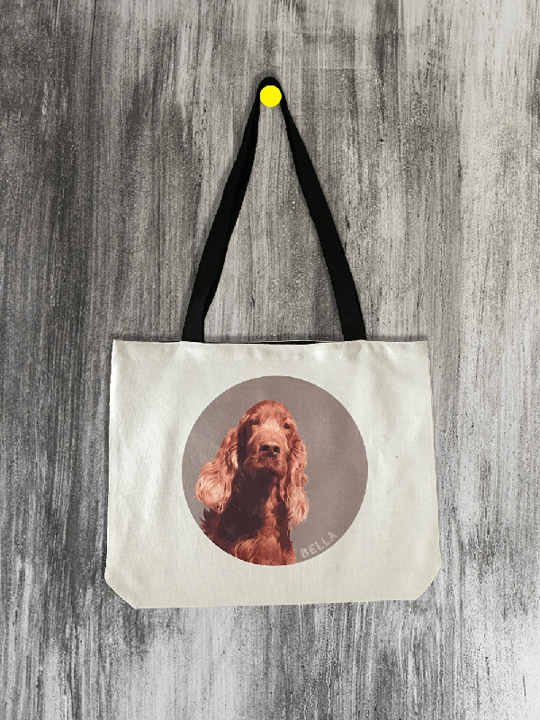 personalised tote bag with dog portrait
