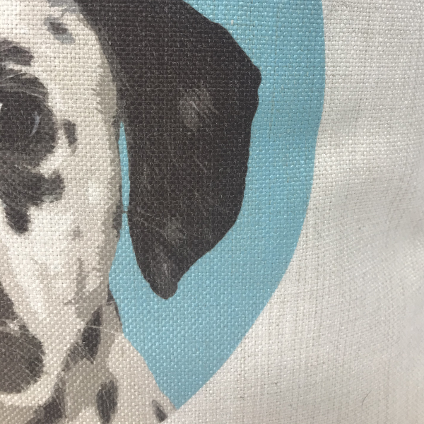 close up of canvas cushion