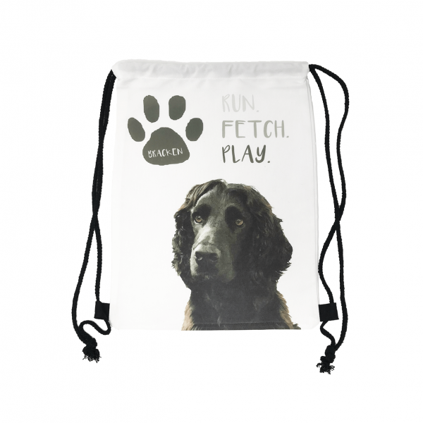 dog toy bag with drawstring personalised with dog photo