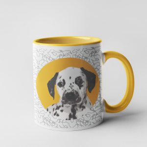 personalised mug with dog portrait in a modern style