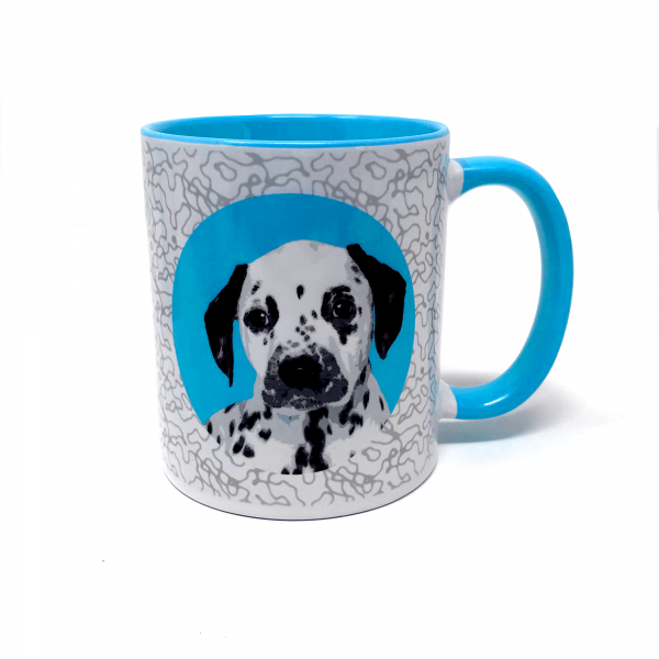 personalised dog mug with dalmatian in blue