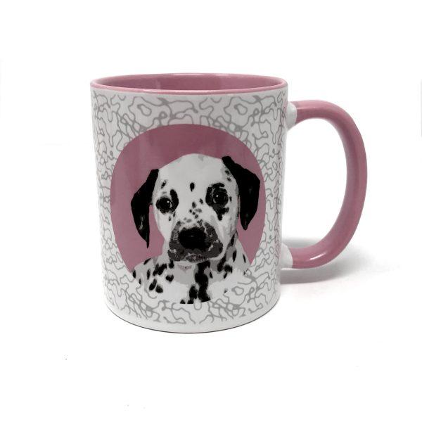 personalised dog mug in pink