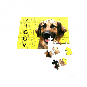 personalised dog jigsaw in yellow