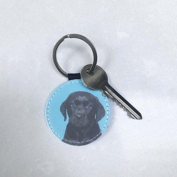 personalised dog key ring blue with black lab