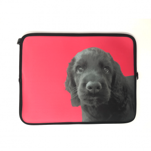 personalised laptop sleeve with dog portrait in pink