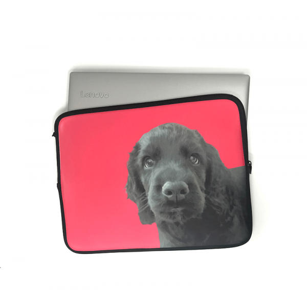 personalised laptop sleeve in neoprene with dog portrait