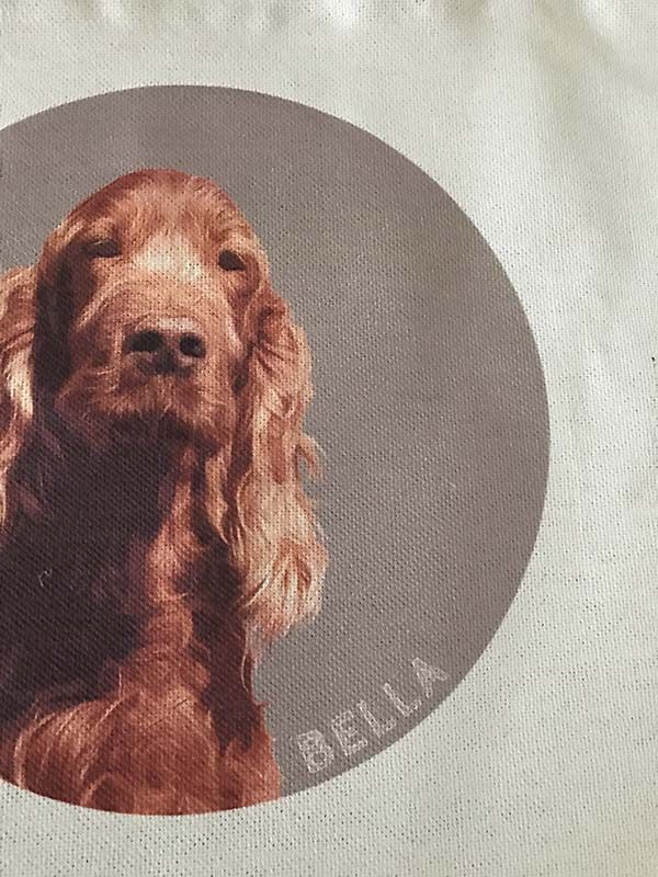 personalised tote bag close up of dog portrait