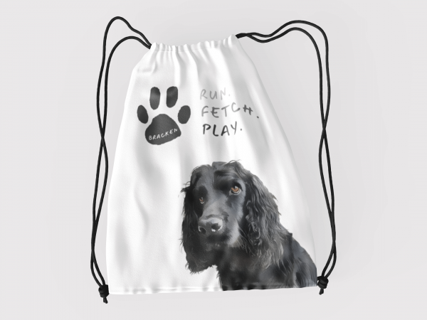 personalised dog toy bag with portrait and name