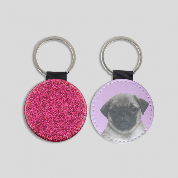personalised dog portrait keyring in pink