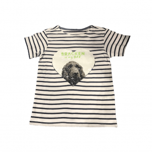 striped t-shirt with sequin hearts showing dog portrait