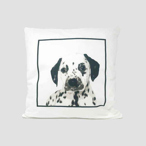 personalised cushion with dog portrait in a square frame