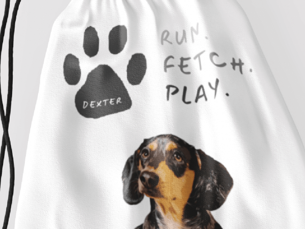 toy bag for dogs personalised with portrait and name