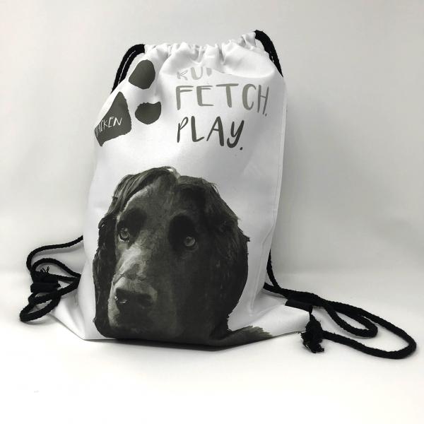 personalised dog toy bag with dog photo