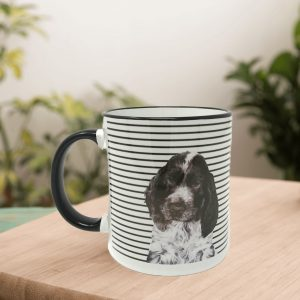 personalised dog mug with monochrome stripes