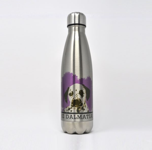 personalised drinks bottle with dog portrait