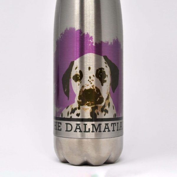close up of dalmatian drinks bottle