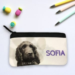 kids pencil case with dog portrait personalised with name