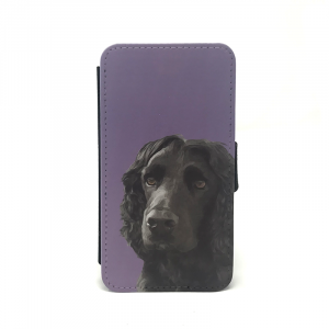 mobile phone case showing portrait of cocker spaniel in purple