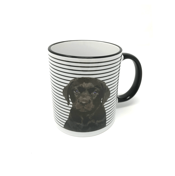 personalised black and white mug with dog portrait of labrador