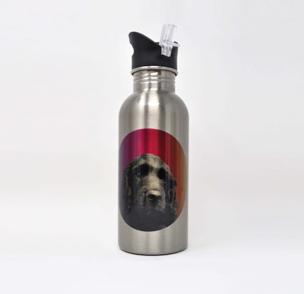 personalised water bottle with dog portrait