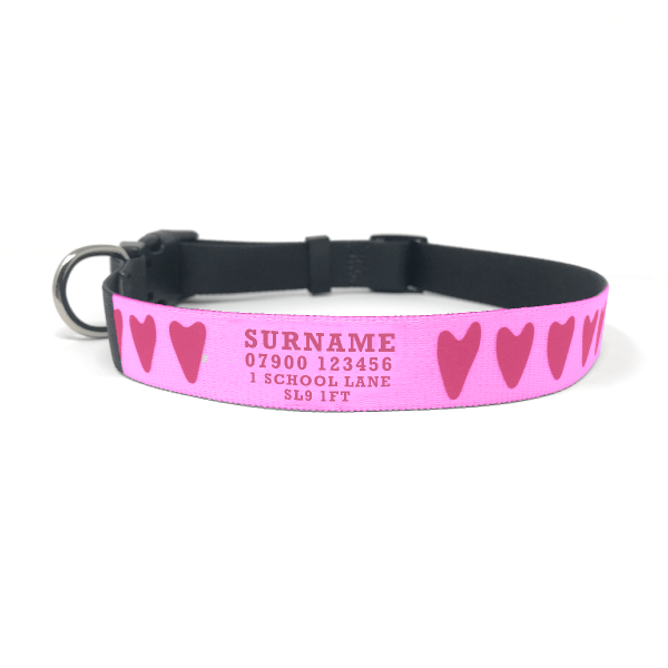 personalised dog collar with pink hearts