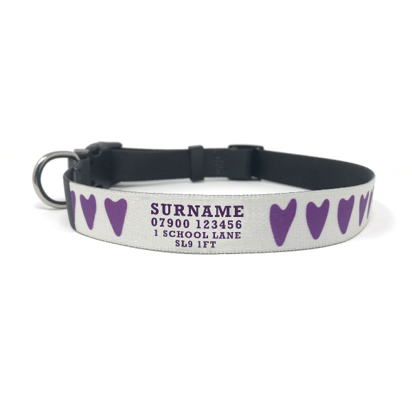 personalised dog collar with hearts