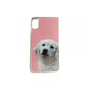 personalised phone case with dog portrait clear flexible plastic