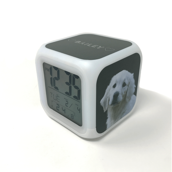digital alarm clock with personalised dog portrait