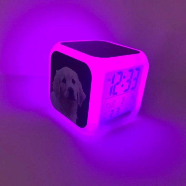 dog digital clock glowing purple