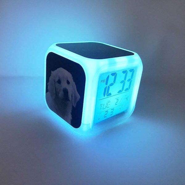 dog digital clock lighting up in blue