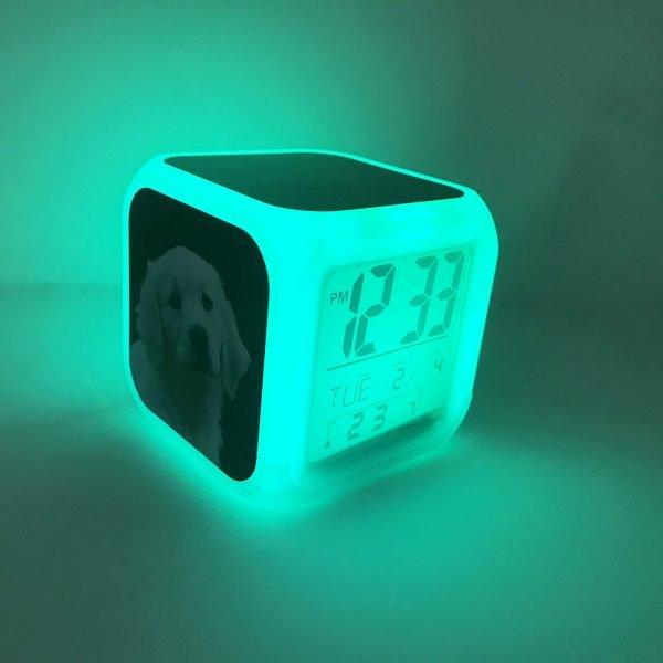 dog digital clock lighting up in green
