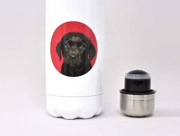personalised drinks bottle with labrador icon close up
