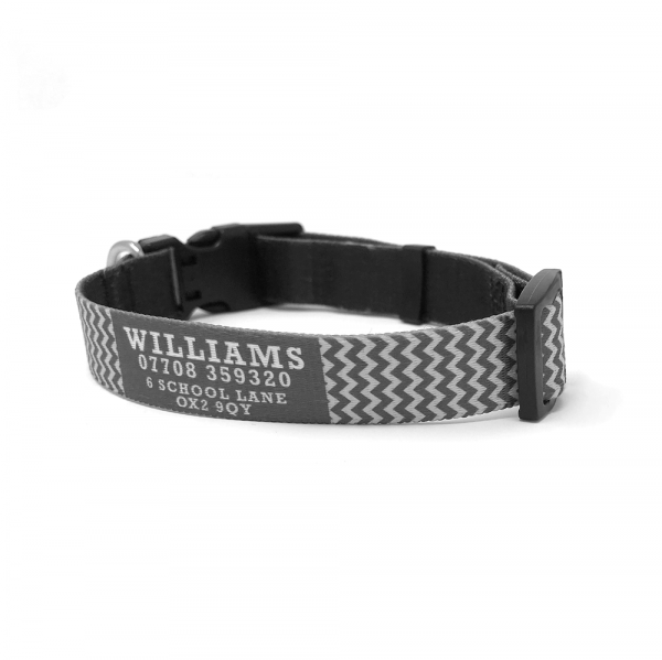 personalised dog collar with name and phone number
