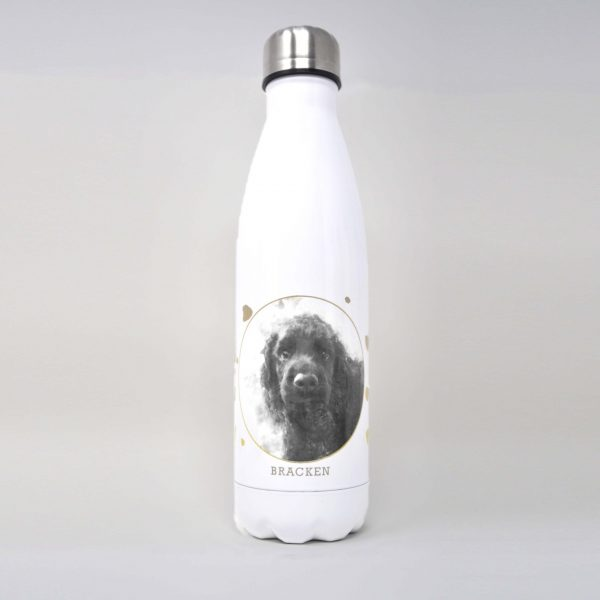personalised drinks bottle with dog portrait and spotty design