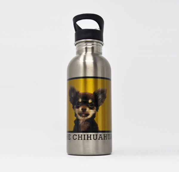personalised water bottle with square dog portrait
