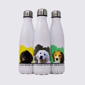 personalised drinks bottle with dog portrait in white