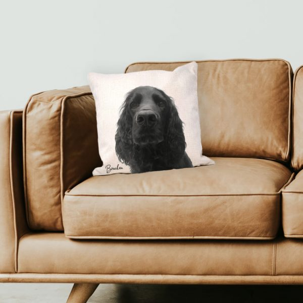 personalised canvas cushion with dog portrait