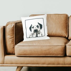 personalised super soft cushion with dog portrait