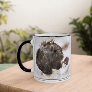 personalised dog mug with watercolour portrait