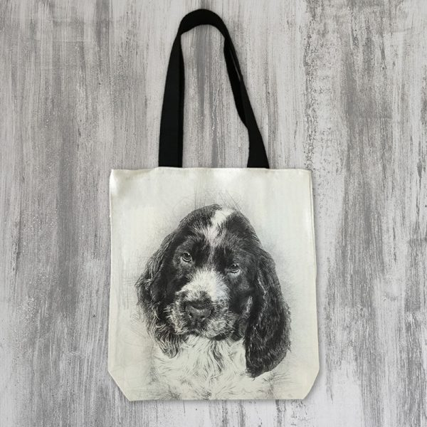 pencil drawing of your dog on a tote bag
