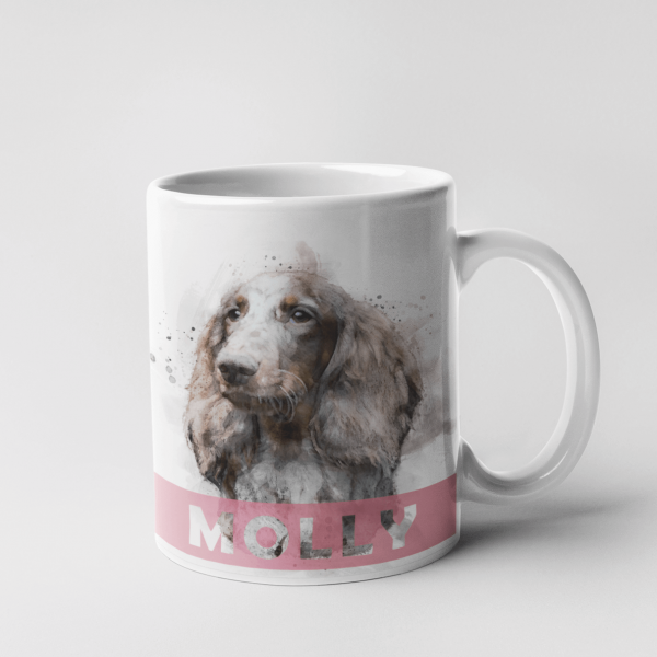 watercolour dog portrait mug with name