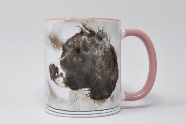personalised dog mug wuth watercolour portrait pink