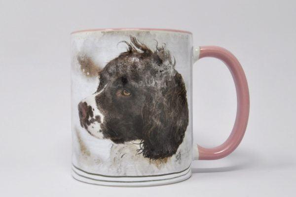 personalised dog mug wuth watercolour portrait pink