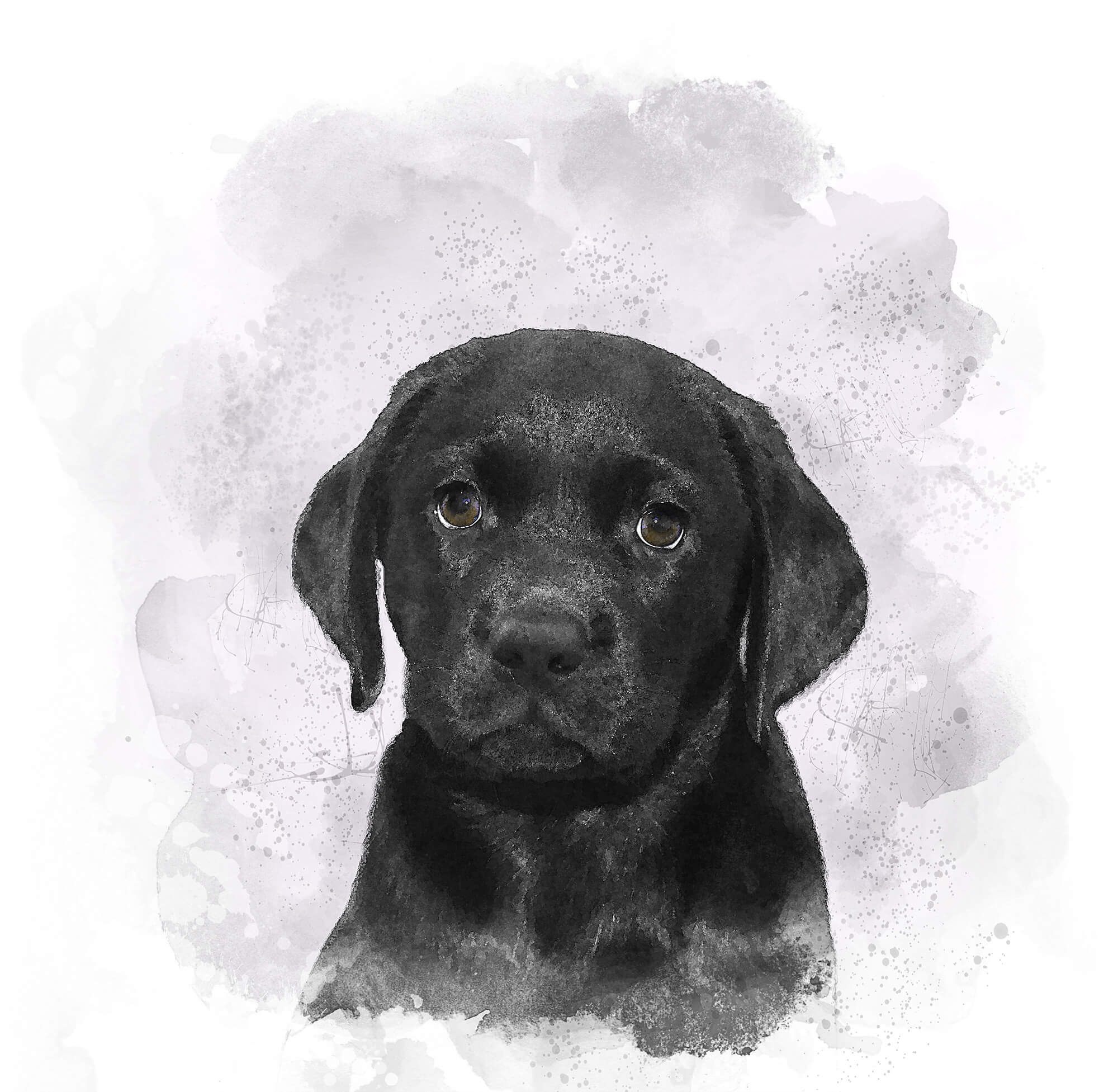Black Labrador Puppy Watercolour
