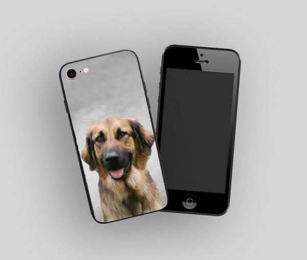 personalised phone case with painted dog portrait