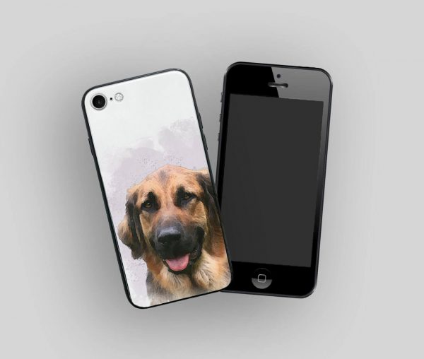 iphone with personalised case with dog watercolour