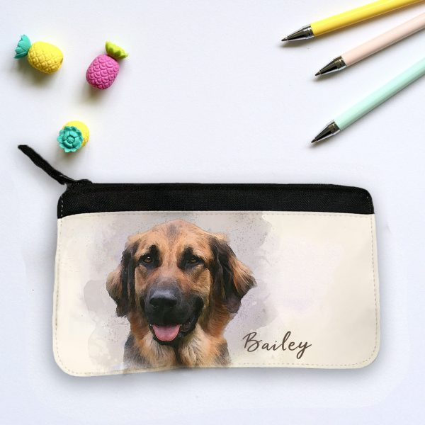 pencil case personalised with watercolour dog portrait
