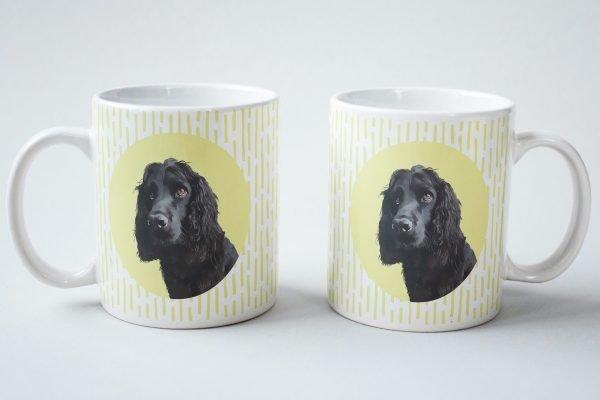custom dog mug spaniel with gold background