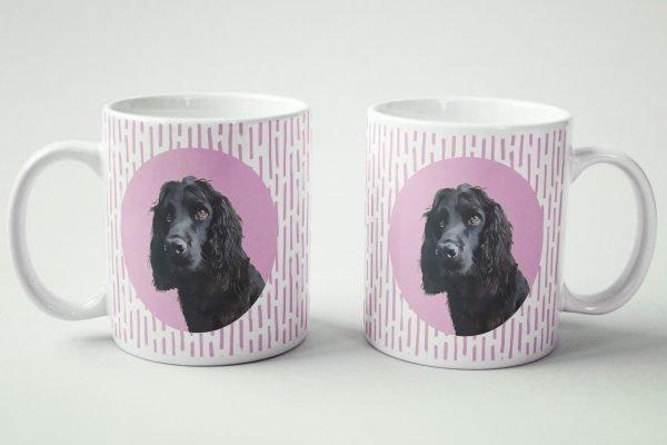 custom dog mug spaniel with pink background