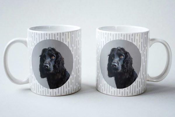 custom dog mug spaniel with silver background